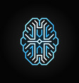 digital brain blue outline icon cyberbrain vector image vector image