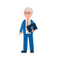 elderly man with laptop poster vector image vector image