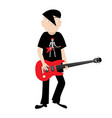 emo independent guitar player isolated on white vector image vector image