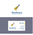 flat guitar logo and visiting card template vector image vector image