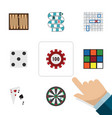 flat icon entertainment set of cube ace arrow vector image vector image