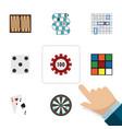 Flat icon entertainment set of cube ace arrow