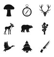forest brother icons set simple style vector image vector image
