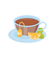 glass cup of hot tea lemon slice and green mint vector image