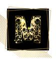 golden ornamental alphabet letter m font vector image