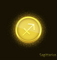 golden sagittarius sign vector image vector image