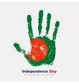 Handprint with the Flag of Bangladesh in grunge vector image