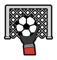 hands with ball with goal in the background vector image