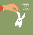happy easter hand holding easter rabbit vector image vector image