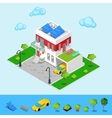 Isometric House with Sun Batteries Garage vector image vector image