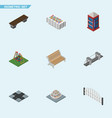 isometric urban set of intersection highway vector image vector image