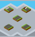 isometric way set of driveway unilateral upwards vector image