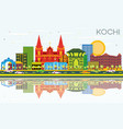 kochi india city skyline with color buildings vector image vector image
