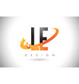le l e letter logo with fire flames design and vector image
