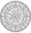 magic circle with mystic symbols vector image