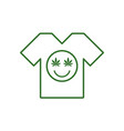 marijuana smiley face cannabis smile white tee vector image vector image
