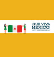mexico independence day banner with country flag vector image