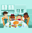 multiracial family praying at festive table vector image vector image