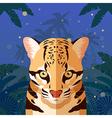 ocelot on jungle background vector image vector image