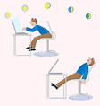 One man sits working the other is tired and sleeps vector image vector image