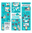 online store and computer e-commerce technology vector image vector image