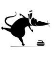 rat or mouse plays curling vector image vector image