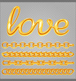 realistic gold jewelry chain and love sign vector image vector image