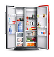 red open refrigerator with products vector image vector image