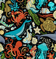 seamless wild sea life pattern vector image vector image