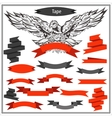Set eagle ribbons in black and red color vector image vector image