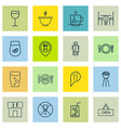 set of 16 meal icons includes fresh dining hot vector image vector image