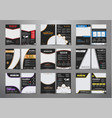 set of black flyers with different geometric vector image vector image