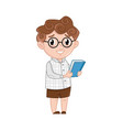 smiling little boy in glasses with book vector image