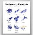 stationnary elements isometric pack vector image