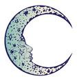 tattoo sleeping crescent moon vector image