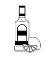 tequila bottle and lemon vector image