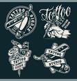 vintage monochrome tattoo salon badges vector image vector image