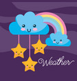 weather kawaii cartoon rainbow clouds stars vector image vector image
