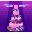 Wedding cake with purple iris flower design vector image