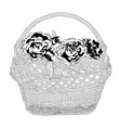 wicker basket full of peony flowers vector image vector image