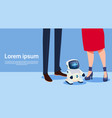 woman and man with modern robot futuristic vector image