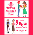 8 march womens day posters set vector image