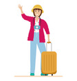a happy tourist with a camera and a suitcase vector image