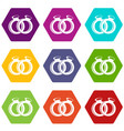 a pair of gold wedding rings icon set color vector image