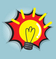 abstract bulb idea with comic book pop art vector image vector image