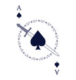 ace of spades crossed with a sword surrounded by vector image