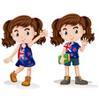 Australian girls waving and smiling vector image vector image