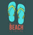 beach summer poster design with flip flops vector image vector image