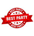 best party round ribbon isolated label best party vector image vector image
