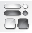 black and white button set design vector image vector image
